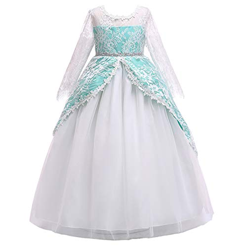 Girls Long Sleeve Tulle Lace Royal Retro Medieval Renaissance Dress Kid Princess Pageant Embroidery Flower Long Maxi Gown Gothic Victorian Masquerade Dress for Wedding Birthday Green 9-10 ()