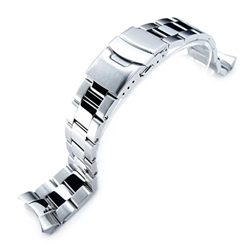 22mm Super Oyster Brushed & Polished 316L SS Watch Band for Seiko SKX007 SKX009 ()