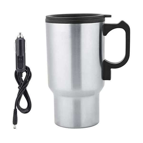 Wosta 12V Car Charging Electric Kettle Stainless Steel Travel Coffee Mug Cup Heated Thermos (Silver/Black-1pc)