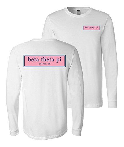 Print Bar AZ Beta Theta Pi Fraternity Long Sleeve Shirt Founded in Oxford OH (White, Large) -