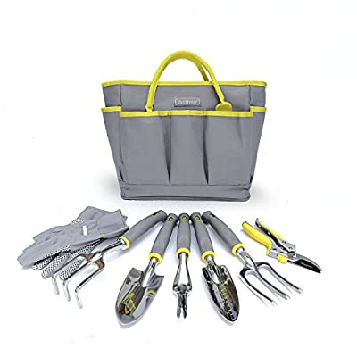 Jardineer Garden Tool Set 8 Piece Gardening Tools with Gardening Gloves and Tool Bag, Heavy Duty Solid Polished Aluminum Head, Comfortable and Ergonomic Handles