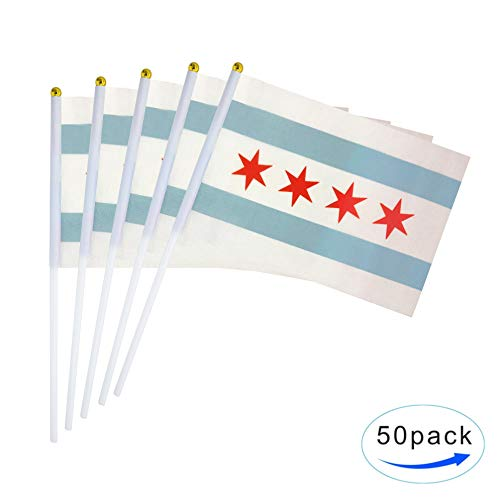 TSMD City of Chicago Flag 50 Pack Small Mini Hand Held Chicago IL State Flags On Stick,Party Decorations Supplies for Chicago School Sport Event -