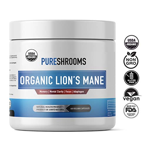 Pure Shrooms Organic Lion s Mane Mushrooms – Strongest 1600mg Per Serving, 120 Capsules – Memory, Focus Nerve Health. Beta-D-Glucans 30 , Organic, No Fillers, No Preservatives No Additives