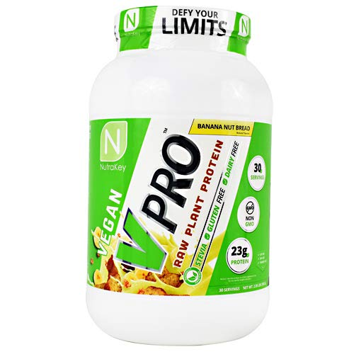 NutraKey Vpro Organic Vegan Raw Plant Protein Banana Nut Bread , 2 Lb