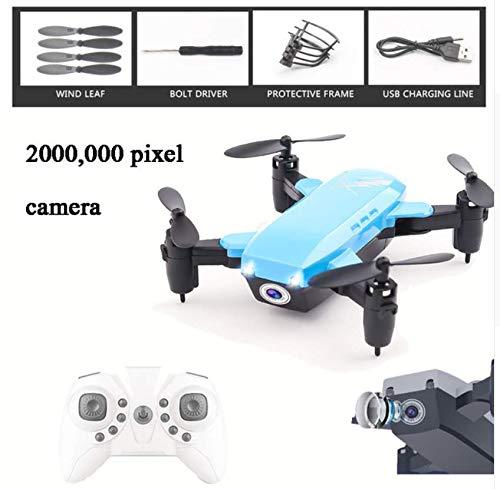 FODUIV Mini Elicottero Pieghevole Drone RC Aereo a Quattro Assi Altezza Fissa Drone WiFi Telecomando Aereo in Tempo Reale Aeromobile Blu 2000.000 Pixel