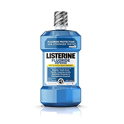 Listerine Fluoride Defense Anticavity Mouthwash For Bad Breath, Mint Shield, 1 L(Pack Of 6) (Agent Cool Blue)