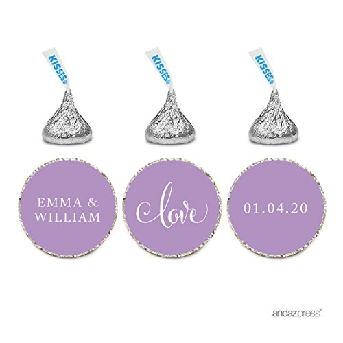 Andaz Press Personalized Wedding Chocolate Drop Label Stickers, Love, Lavender, 216-Pack, for Engagement Bridal Shower Hershey's Kisses Party Favors