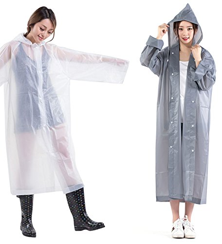 ShoppeWatch Reusable Rain Ponchos for Adults with Drawstring Hood and Full Sleeves 2 PACK Emergency Sport Rain Gear Clear Plastic Raincoat Waterproof Long Free Size Fits All - RP52