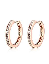 Presentski Huggie Earrings Silver for Women Girls Rose Gold Plated Round Hoop Earrings CZ Inlaid