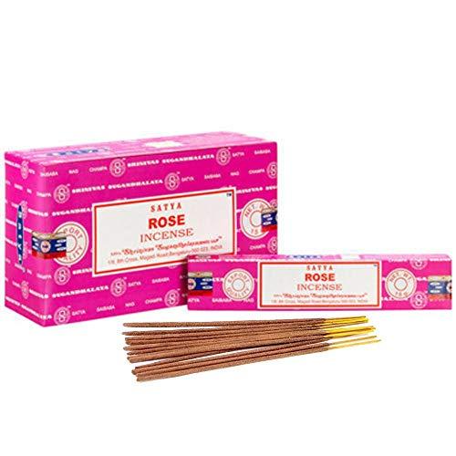 (Satya Nag Champa Rose Incense Sticks, 12 Count)