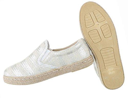 Damen Schuhe Halbschuhe Slipper Freizeitschuhe Schwarz Silber Silber