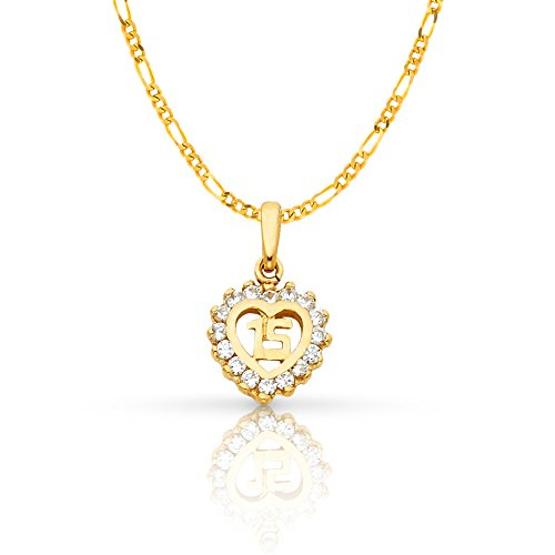 14K Yellow Gold Sweet 15 Years Quinceanera Heart Cubic Zirconia CZ Charm Pendant with 1.6mm Figaro 3+1 Chain Necklace - 18