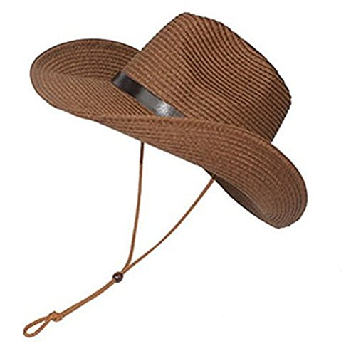 LUOEM Cowboy Sun Hat Wide Brim Hat Summer Beach Straw Cap Foldable Caps (Coffee)