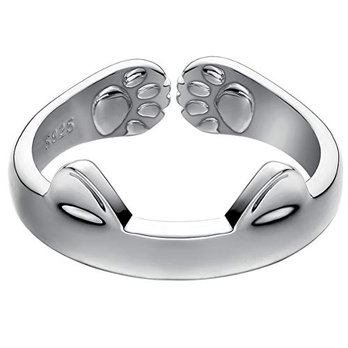 Jewever S925 Sterling Silver Cat Ears Open Tail Ring Paws Mutual Surrounded