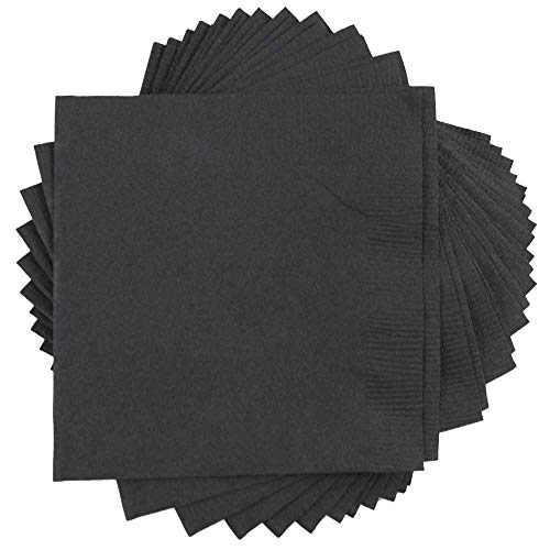 (JAM PAPER Small Beverage Napkins - 5 x 5 - Black - 50/Pack)