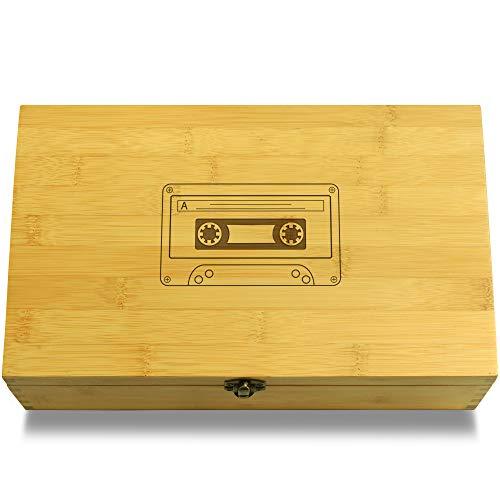 Cookbook People Cassete Tape Hipster Multikeep Box - Memento Sustainable Bamboo Adjustable -
