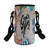 Small Water Bottle Sleeve Neoprene Bottle Cover,Good Vibes,On the Beach Concept Seacoast Shoreline Vacation Holiday Travel Wellness Theme Decorative,Multicolor,Great for Stainless Steel and Plastic/Gl
