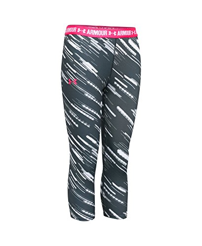 Under Armour Girls' HeatGear Armour Printed Capri, Stealth Gray (010), Youth X-Large