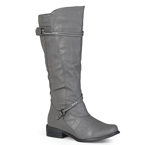 Strap Buckle High Calf Riding Boot Womens Knee and Journee Black Collection Wide Regular Ankle Sized qzYnP8UA