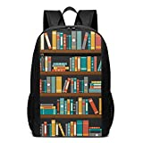 School Backpack - Cartoon Library Book Shelf Book Women's College Notebook BookbagDaily Rucksack,17inch