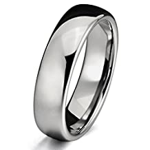 MOWOM Silver Tone 6mm Tungsten Ring Band Comfort Fit Wedding Engagement Promise