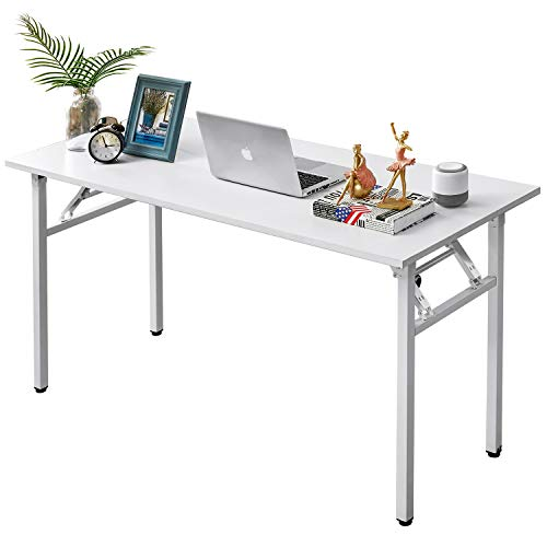 AUXLEY Folding Computer Desk Modern Simple Writing Desk for Home Office Study, Wood and Metal Folding Table White, 55