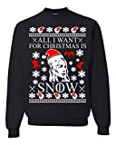 All I Want for Christmas is Snow Khaleesi Game of Thrones Ugly Christmas Sweater Unisex Sweatshirt (M, Black)