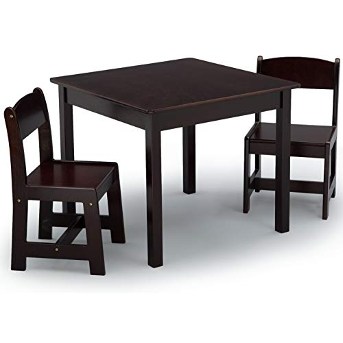 Delta Children MySize Kids Wood Chair Set and Table (2 Chairs Included), Dark Chocolate (Chiara Chair)