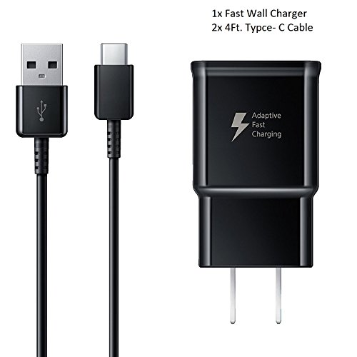 Note 9 USB Type-C Cable Adaptive Fast Wall Charger Samsung Galaxy S8 S9 Plus, LG G6 G5 V30 V20, Google Pixel 2, Nexus 5X 6p, GoPro5 OnePlus 5, HTC U11 by ixir (Fast Wall Charger + Type-C Cable)