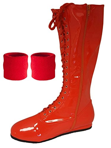 (Red, Medium) Pro Wrestling Costume Boots with Matching Sweatbands
