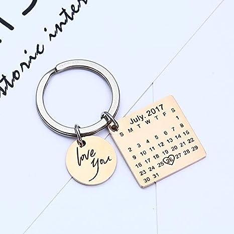 Amazon.com: Llavero personalizado con calendario de fecha ...