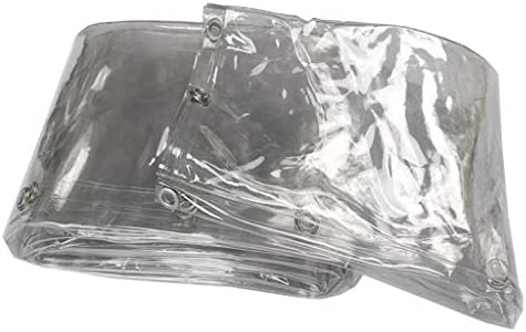 透明防水シート クリア防水シートヘビーデューティ防水| 金属グロメット付き透明ターポリン 屋根用、キャンプ用、屋外用、パティオリバーシブル400g /m² ターポリン 庭屋根 保護