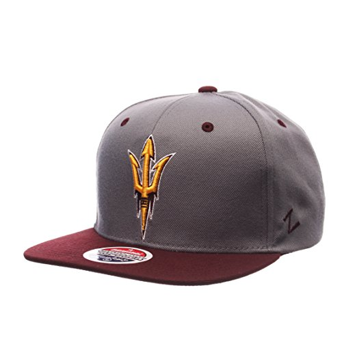 NCAA Arizona State Sun Devils Men's Z11 Slate Snapback Hat, Grey/Maroon, Adjustable