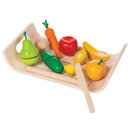 Cheap  Plan Toys Assorted Fruits and Vegetables (Solid Wood Version)