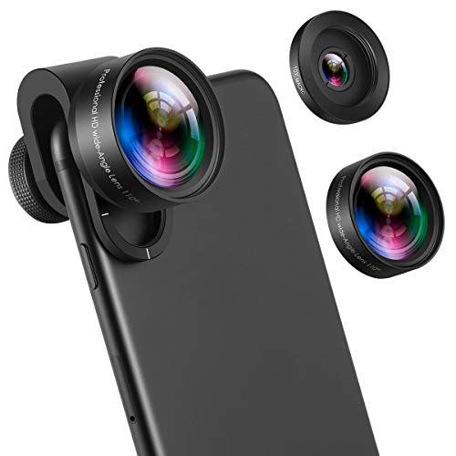 Criacr (Upgraded Version) Phone Camera Lens, 4K HD Cell Phone Lens Kit for iPhone X, 0.6X Wide Angle Lens, 10X Macro Lens for iPhone 8, 7 Plus, Samsung and Most Smartphones (No Deformation)