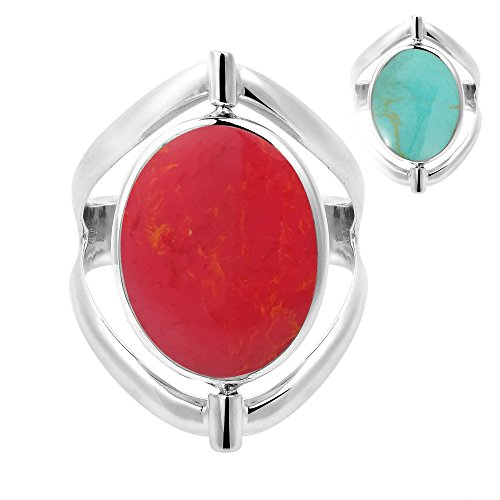 AeraVida Two in One Flip Reconstructed Red Coral and Simulated Turquoise Oval .925 Sterling Silver Ring (9)