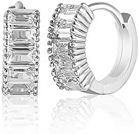 SPECAL OFFER 18K White Gold Over Sterling Silver Cubic Zirconia Baguette Huggie Hoop Earrings Gift