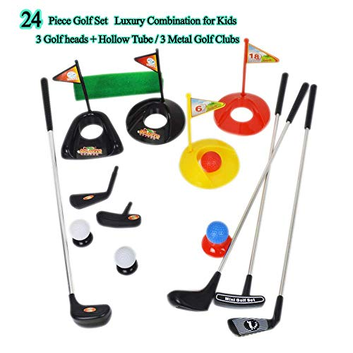 Big Size ! Popular Sport Play Toys Kids' Golf Accessories Kits Sets for Kids Toddler Children Golf Clubs Set Plastic Sprots Toys (24 - Kids Green Club Golf