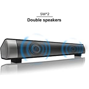 Sanwo Wireless Bluetooth Soudbar Channel 2.0 TV Sound Bar with 3.5mm Aux TF Card LED Indicator, 10W Stereo Speaker...
