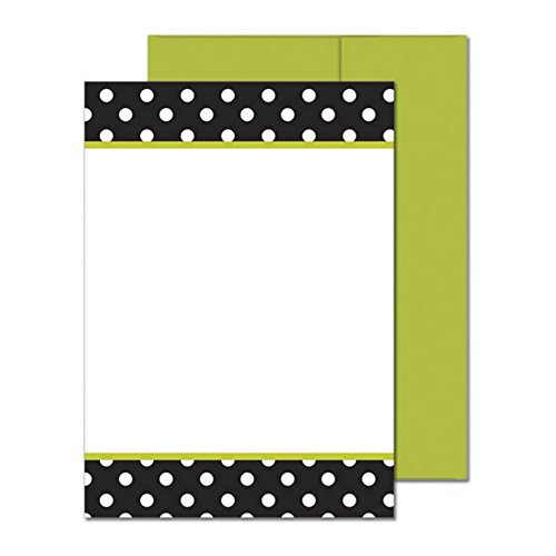 Black And White Dots Flat Cards With Green Envelopes - 100 Pack by GP