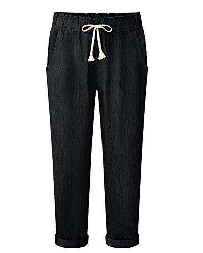 AnyuA Pantalones Largo Vaqueros con Cinturilla Elástica Básicos Cintura Elástica Zarco