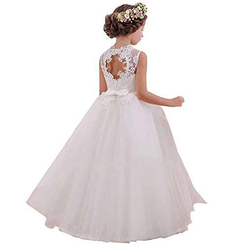 Dress Princess White (LZH Girls Lace Dress Princess White Backless Wedding)