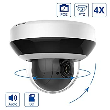 Image of IP POE PTZ 4X 4MP Dome Camera,2.8-12mm Lens,Hikvision Compatible 4X Optical16X Digital Zoom, H.265+ Outdoor Mini Security Dome Camera,Alarm,Audio,Indoor&Outdoor SD Card Slot-#PTZIP204