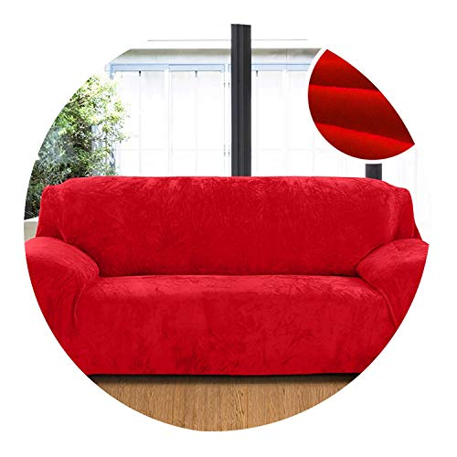 Plush Fabric Sofa Cover 1/2/3/4 Seater Thick Slipcover Couch Sofa Covers Stretch Elastic Sofa Covers Towel Wrap Covering,Red,1 Seat 90-140Cm