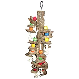 A&E CAGE COMPANY HB111 Happy beaks Wood Hanging Cylinders Assorted Bird Toy, 5 by 20\