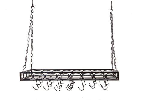 Old Dutch International Rectangular Hanging Kitchen Pot Rack with 16 Hooks, Medium, Matte (Rectangular Hanging)