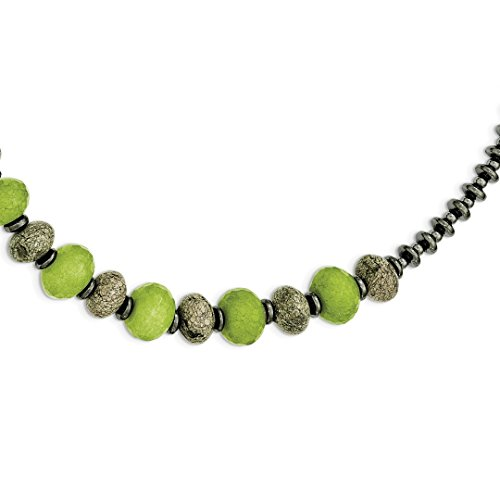 ICE CARATS 925 Sterling Silver Green Jade Serpentine Hematite 2 Inch Extension Chain Necklace Natural Stone Fine Jewelry Ideal Mothers Day Gifts For Mom Women Gift Set From Heart (Serpentine Necklace Stone)