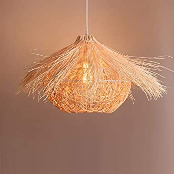 Arturesthome Rustic Rattan Pendant Light, Creative Bird Lampshade, Wicker Basket Pot Woven Ceiling Lighting