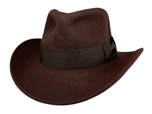 Men's 100% Soft & Crushable Wool Felt Indiana Jones Style Cowboy Fedora Hats HE01 (L/XL, ()