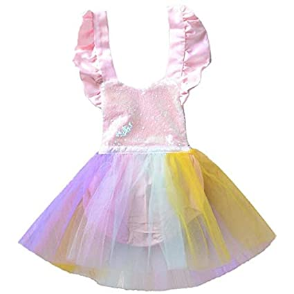 d79121a96bed New Trends Summer Dress Baby Girl Rompers Mesh Princess Party Newborn  Sequin Baby Clothes Girls Jumpsuit Kids Baby Rainbow Unicorn Outfits   Amazon.in  ...